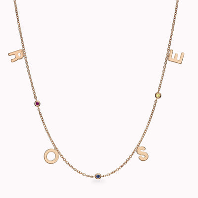 4 Gothic Initials and 3 Gemstones Necklace Necklace 14K Solid Gold