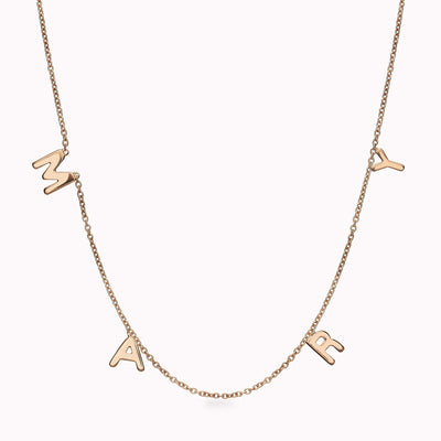 4 Gothic Initials Necklace Necklace 14K Solid Gold