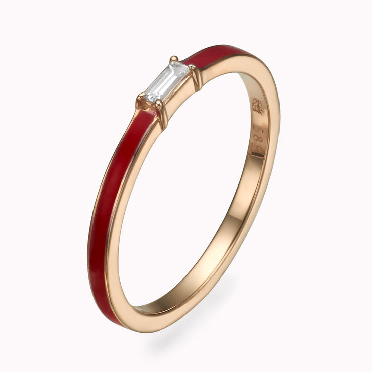 Red Enamel Baguette Diamond Ring Ring 14K Solid Gold 4 14k Rose Gold