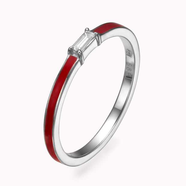Red Enamel Baguette Diamond Ring Ring 14K Solid Gold 4 14k White Gold