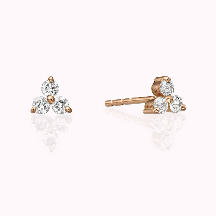 Diamond Cluster Earrings Earrings Magaljewelrynew 14k Rose Gold