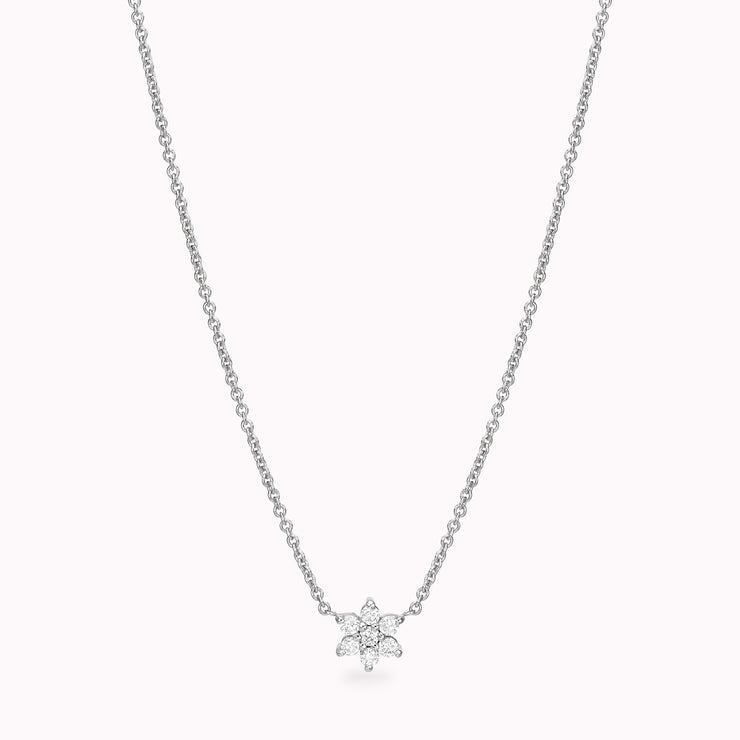Diamond Flower Necklace Necklace Magaljewelrynew 14 White Gold