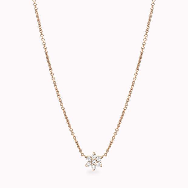 Diamond Flower Necklace Necklace Magaljewelrynew 14k Rose Gold
