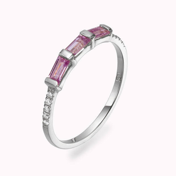Diamond & Pink Sapphire Baguette Ring Ring Magaljewelrynew 4 14k White