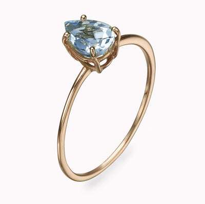 Aquamarine Pear Shape Ring Ring 14K Solid Gold 4 14k Rose Gold