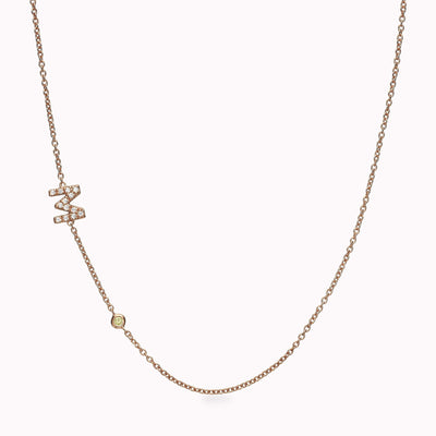 Asymmetrical 1 Diamond Paved Gothic Initial and 1 Gemstone Necklace Necklace 14K Solid Gold