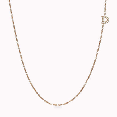 Asymmetrical 1 Diamond Paved Gothic Initial Necklace Necklace 14K Solid Gold