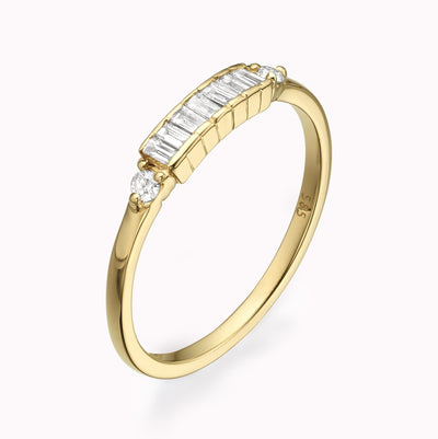 Baguette Diamond Art Deco Ring Ring 14K Solid Gold 4 14k Yellow Gold