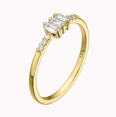 Baguette Diamond Ring Ring 14K Solid Gold 4 14k Yellow Gold