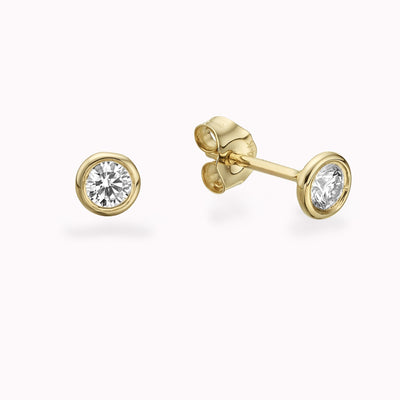 Big Diamond Bezel Studs Earrings 14K Solid Gold 14k Yellow Gold