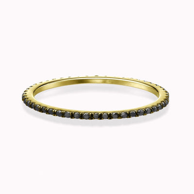 Black Diamond Eternity Ring Ring 14K Solid Gold 4 14k Yellow Gold