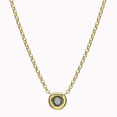 "Black Diamond Solitaire Necklace Necklace 14K Solid Gold 14k Yellow Gold Adjustable 16-17"" (40cm-43cm)"