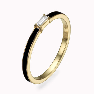 Black Enamel Baguette Diamond Ring Ring 14K Solid Gold 4 14k Yellow Gold