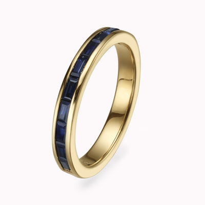 Blue Sapphire Baguette Eternity Ring Ring 14K Solid Gold 4 14k Yellow Gold
