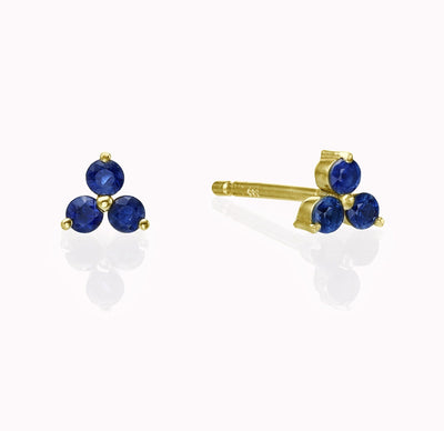 Blue Sapphire Cluster Earrings Earrings 14K Solid Gold 14k Yellow Gold