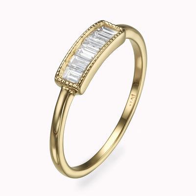 Chanel Diamond Baguette Ring Ring 14K Solid Gold 4 14k Yellow Gold