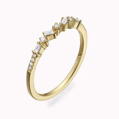 Cluster Baguette Diamond Ring Ring 14K Solid Gold 4 14k Yellow Gold