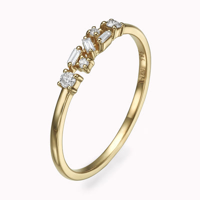 Cluster Diamond Baguette Ring Ring 14K Solid Gold 4 14k Yellow Gold