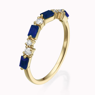 Cluster Diamond & Blue Sapphire Baguette Ring 14K Solid Gold 4 14k Yellow Gold
