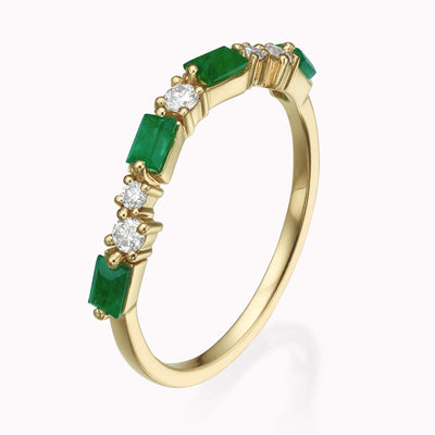 Cluster Diamond & Emerald Baguette Ring 14K Solid Gold 4 14k Yellow Gold
