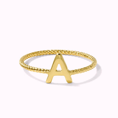 Customizable Initial Twisted Ring Ring 14K Solid Gold