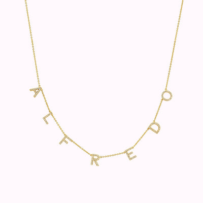 Customizable Paved Necklace Necklace 14K Solid Gold