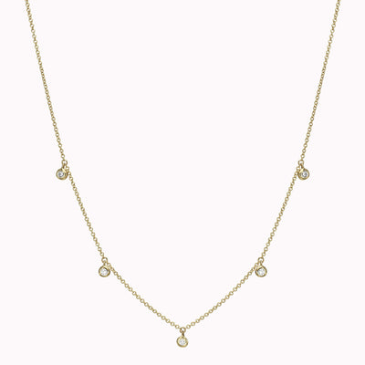 "Dangling Diamond Bezel Necklace Necklace 14K Solid Gold 14k Yellow Gold Adjustable 16-17"" (40cm-43cm)"