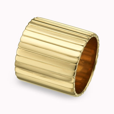 Deco wide band Ring Gold Vermeil Yellow Gold Vermeil 4