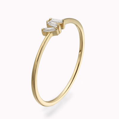 Diamond 3 Baguette Ring Ring 14K Solid Gold 4 14k Yellow Gold