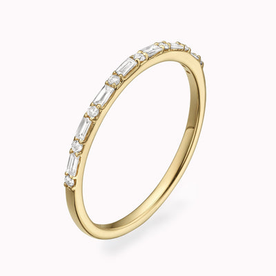 Diamond Alternate Baguette Eternity Ring Ring 14K Solid Gold 4 14k Yellow Gold