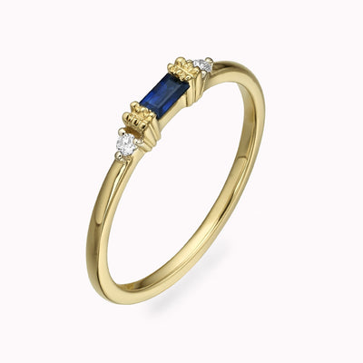 Diamond And Blue Sapphire Baguette Ring Ring 14K Solid Gold 4 14k Yellow Gold