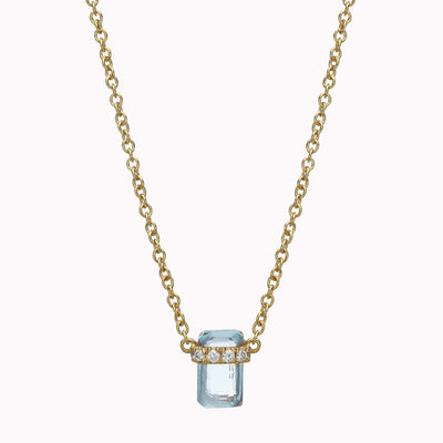 "Diamond And Emerald Aquamarine Necklace Necklace 14K Solid Gold 14k Yellow Gold Adjustable 16-17"" (40cm-43cm)"