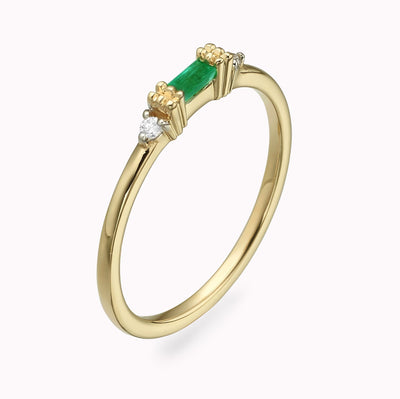 Diamond And Emerald Baguette Ring Ring 14K Solid Gold 4 14k Yellow Gold