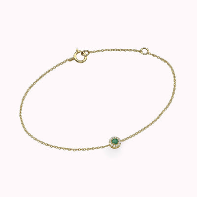 Diamond and Emerald Halo Bracelet Bracelets 14K Solid Gold 14k Yellow Gold Adjustable 6-7″ (15cm-18cm)