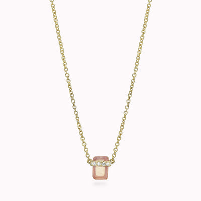 "Diamond And Emerald Moonstone Necklace Necklace 14K Solid Gold 14k Yellow Gold Adjustable 16-17"" (40cm-43cm)"