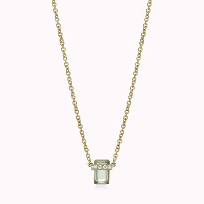 "Diamond And Labradorite Necklace Necklace 14K Solid Gold 14k Yellow Gold Adjustable 16-17"" (40cm-43cm)"