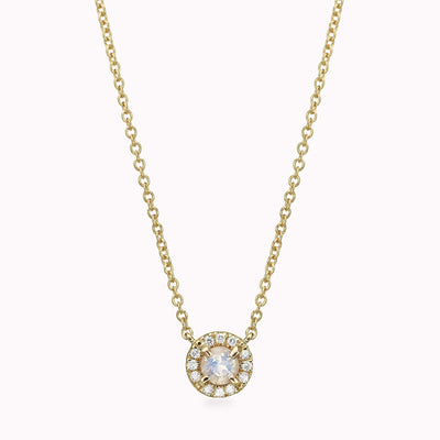 "Diamond And Moonstone Necklace Necklace 14K Solid Gold 14k Yellow Gold Adjustable 16-17"" (40cm-43cm)"