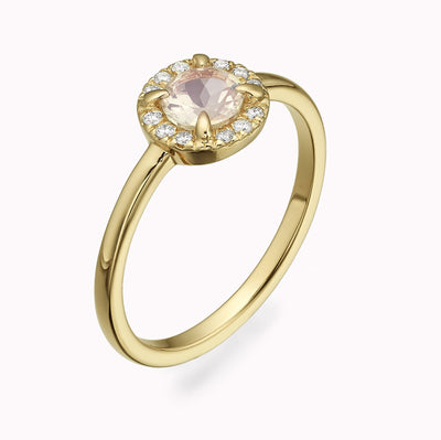 Diamond and Moonstone Ring Ring 14K Solid Gold 4 14k Yellow Gold