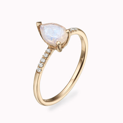 Diamond and Moonstone Solitaire Ring Ring 14K Solid Gold 4 14k Yellow Gold