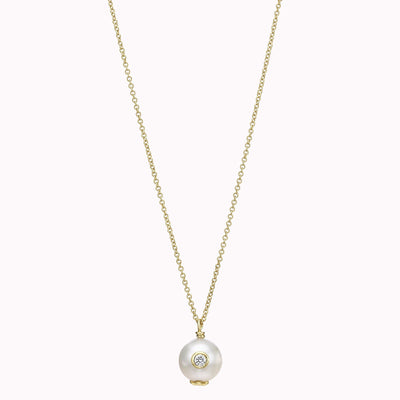 "Diamond and Pearl Necklace Necklace 14K Solid Gold 14k Yellow Gold Adjustable 16-17"" (40cm-43cm)"