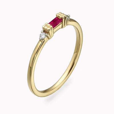 Diamond And Ruby Baguette Ring Ring 14K Solid Gold 4 14k Yellow Gold