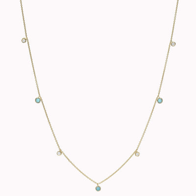 "Diamond and Turquoise Bezel Necklace Necklace 14K Solid Gold 14k Yellow Gold Adjustable 16-17"" (40cm-43cm)"