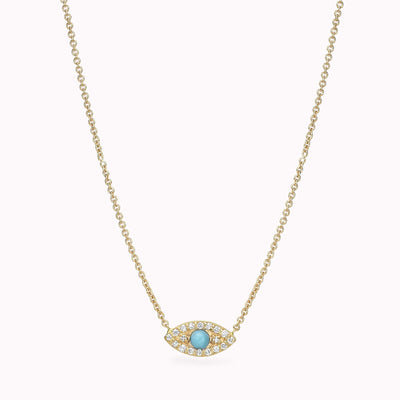 "Diamond And Turquoise Evil Eye Necklace 14K Solid Gold 14k Yellow Gold Adjustable 16-17"" (40cm-43cm)"
