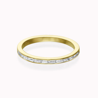 Diamond Baguette Channel Ring Ring 14K Solid Gold 4 14k Yellow Gold
