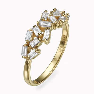 Diamond Baguette Cluster Ring Ring 14K Solid Gold 4 14k Yellow Gold