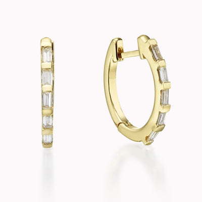 Diamond Baguette Hoops Earrings 14K Solid Gold 14k Yellow Gold
