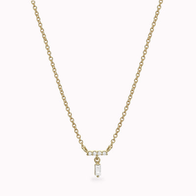 "Diamond Baguette Necklace Necklace 14K Solid Gold 14k Yellow Gold Adjustable 16-17"" (40cm-43cm)"