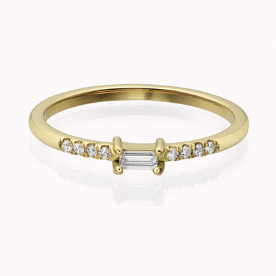 Diamond Baguette Ring Ring 14K Solid Gold 4 14k Yellow Gold
