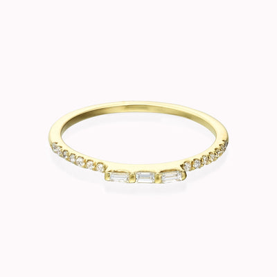Diamond Baguette Trio Ring Ring 14K Solid Gold 4 14k Yellow Gold