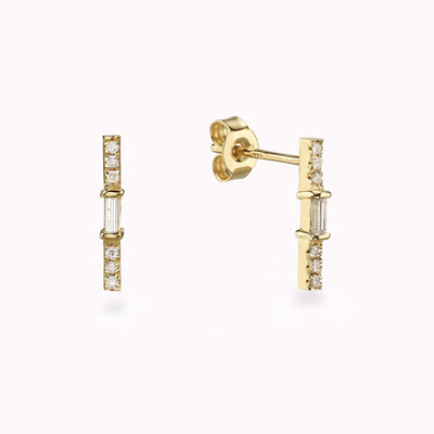 Diamond Bar Baguette Earrings Earrings 14K Solid Gold 14k Yellow Gold